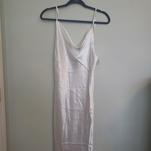 BRAND NEW PURE WHITE COWL NECK SILK SLIP DRESS